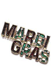 Rhinestone Enamel Mardi Gras Brooch / Pin