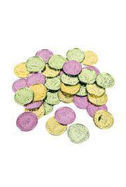 1 1/2in Plastic Mardi Gras Coins/ Doubloons. Purple,Green,Gold