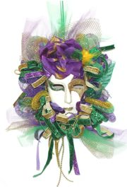 Mardi Gras Doll Decoration with Flower, Glitter and Deco Mesh Accents