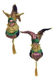 10in Mardi Gras Jester Ornament