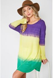 Mardi Gras Tie Dye Knit Tunic/ Dress/ Top Size Small