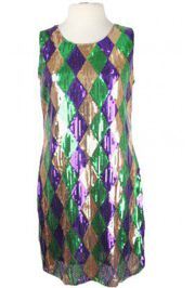 Mardi Gras Diamond Pattern Sequin Dress Medium