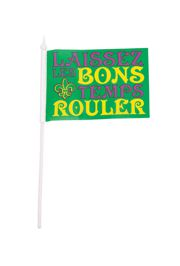 4in x 6in Polyester Mardi Gras Flag with Fleur de Lis Design