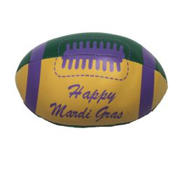 4in x 6in Vinyl Metallic Mardi Gras Football w/ Happy Mardi Gras Printing