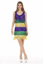 Mardi Gras Sequin Dress w/ Fringe Size Medium