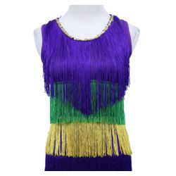 Mardi Gras Sequin Dress w/ Fringe Size Small