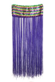Mardi Gras Sequin Band Flapper Skirt with Fringe