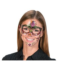Assorted Mardi Gras Full Face Tattoo