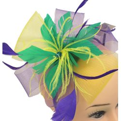 Mardi Gras Mini Headband w/ Mesh and Feather Accents