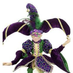 Jester porcelain doll with Mardi Gras Mask
