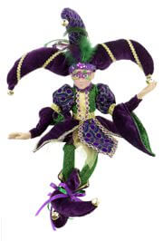 Jester porcelain doll with Mardi Gras Mask