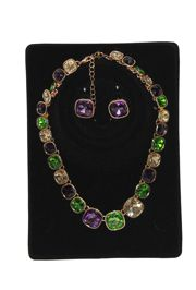10in Beautiful Mardi Gras Carnival Zirconia Stones Necklace and Earrings Set
