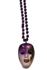 38in 12mm Round Metallic Purple Necklace with 4.5in Tall Painted Mardi Gras Mask Medallion
