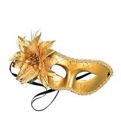 Metallic Gold Mardi Gras Eye Mask with Flower on the side