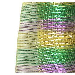21in x 30ft Metallic Light Purple/ Green/ Gold Multi Band Mesh Ribbon