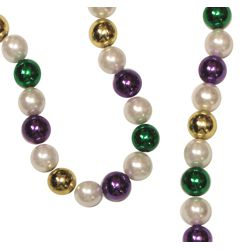 44in 18mm White Pearl and Metallic Purple/ Green/ Gold Mardi Gras Bead