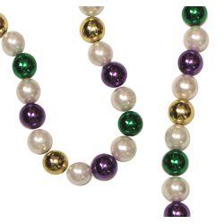 44in 18mm White Pearl and Metallic Purple/ Green/ Gold Mardi Gras Bead