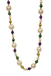 48in Long Mardi Gras Necklace with 25mm Pearl Balls