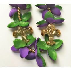 42in Mardi Gras Necklace with Fleur-de-Lis Medallions