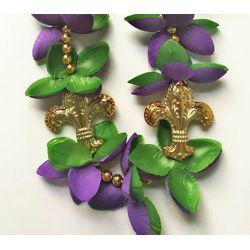 42in Mardi Gras Necklace with Fleur-de-Lis Medallions