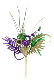 21in Long Filigree Glitter Mardi Gras Leaf/ Ball Spray