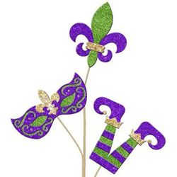 25in Long Glitter Mardi Gras Spray with Fleur de Lis, Mask and Jester Design
