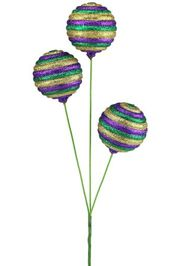 16in Long Glitter Mardi Gras Stripe Ball Pick