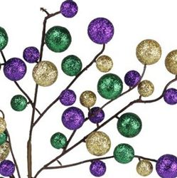 17in Long Round Glitter Mardi Gras Ball Pick