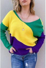 Mardi Gras Pullover/ Sweater Open Back Size Small/ Medium
