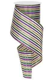 4in Wide x 30ft Long Metallic Purple/ Green/ Gold Mardi Gras Stripe Mesh