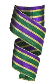 2.5in x 30ft Metallic Stripe Mardi Gras Ribbon
