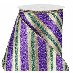 4in x 30ft Diagonal Glitter Stripe Mardi Gras Ribbon