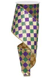 4in x 30ft Glitter Mardi Gras Diamond Check Ribbon
