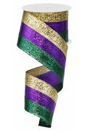 2.5in x 30ft Metallic Stripe Mardi Gras Ribbon
