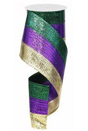 4in x 30ft Metallic Stripe Mardi Gras Ribbon