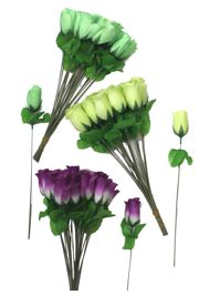 12in Purple/ Green/ Gold Silk Like Material Roses