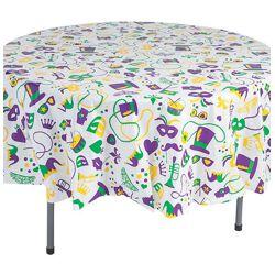 Mardi Gras Round Plastic Table Cover