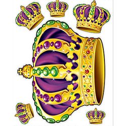 Mardi Gras Crowns Peel'N Place Stickers/ Clings