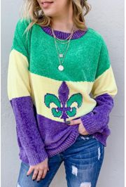Mardi Gras Pullover / Sweater with Fleur de Lis Design Size Medium/ Large