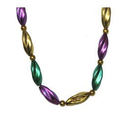 38in Metallic Purple/ Green/ Gold Mardi Gras Swirl Necklace