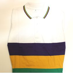 Unisex White Mardi Gras Rugby Style T-Shirt W/Long Sleeve/Collar Small Size