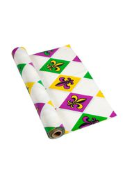 40in x 100ft White Plastic Mardi Gras Printed Banquet Roll