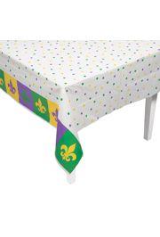 54in x 108in Mardi Gras Plastic Table Cover with Fleur de Lis design