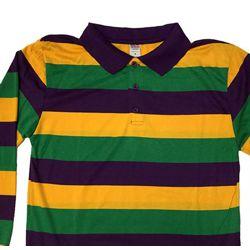 Unisex Mardi Gras Rugby Style T-Shirt W/Long Sleeve/Collar Medium Size
