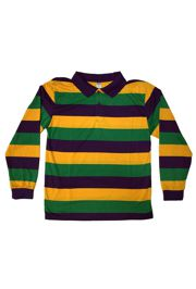 Unisex Mardi Gras Rugby Style T-Shirt W/Long Sleeve/Collar Large Size