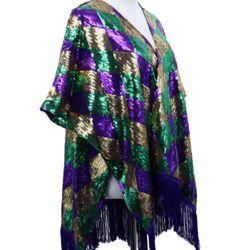 Mardi Gras Sequin Diamond Style Vest