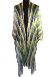 Mardi Gras Chevron Shimmer Fringe Kimono/ Poncho