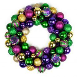18in Mardi Gras Ornament Wreath