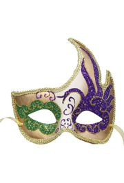 7in Long x 7in Wide Mardi Gras Masquerade Mask Swan Design