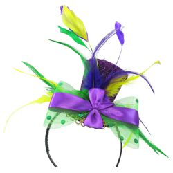 Mini Mardi Gras Glitter Top Hat/ Headband w/ Feathers
